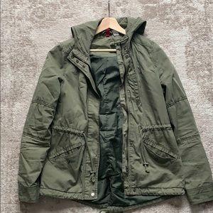 olive h&m utility light jacket with hood
